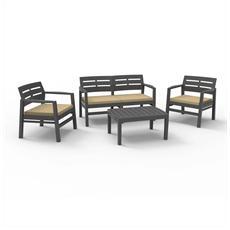 Set da Giardino 2 Sedie 1 Divano 1 Tavolo con Cuscini Colore Antracite - Modello Java