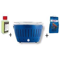 Barbecue Da Tavolo + Kit Accensione Carbonella Ad Alte Prestazioni E Gel - Blu