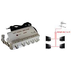 Amplificatore Segnale Tv Sdoppiatore Antenna 4 Uscite Digitale Terrestre