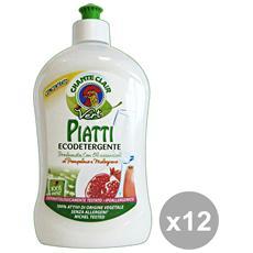 Set 12 Piatti Concentrato 500 Ml. Vert Pompelmo-melogr. Detergent