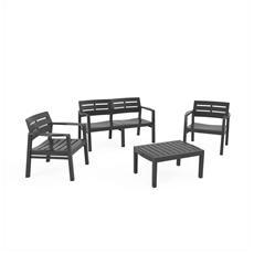 Set da Giardino 1 Divano 2 Poltrone e 1 Tavolino senza Cuscino Antracite - Modello Java