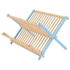 Scolapiatti A Pieghevole–legno–bicolore Blu Chiaro