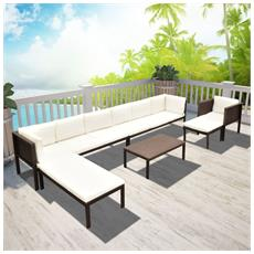 Set Da Giardino 24 Pz. In Poly Rattan Marrone