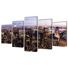 5 Pz Set Stampa Su Tela Da Muro Vista Dall'alto New York 100 X 50cm