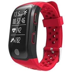 Smart Band Activity Tracker S908 Con Gps Waterproof Ip68 Cardiofrequenzimetro (nuoto, Ciclismo, Running, Climb, Walking) Orologio Red