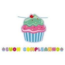 Kit Scritta Maxi Buon Compleanno Cupcake 6 Mt