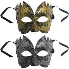 Set 3 Pezzi Maschera Mascherina Veneziana Oro O Argento Principe Re Carnevale Travestimento Sfumature