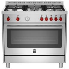 Cucina a Gas PRM905GEVSXT Serie Prima 5 Fuochi a Gas Forno a Gas Ventilato Dimensioni 90 x 60 cm Colore Inox