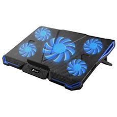 Cyclone Base Di Raffreddamento - Il Miglior Raffreddamento - 5 Ventole - Base Di Raffreddamento Per Computer - Gioco Gaming (blu)