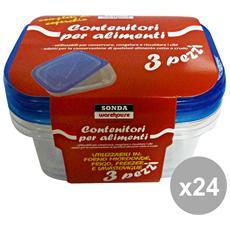 Set 24 Contenitore Plastica Freezer-forno Con Coperchio X 3 Pezzi Casre5239 Contenitori Per