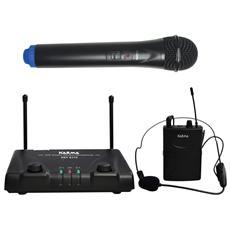 Doppio radiomicrofono VHF palmare + lavalier