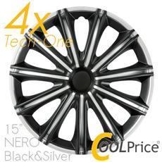 Copricerchi Auto Universali 15 Pollici Nero Tech-one Black Silver 31627