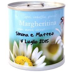 Bomboniere Naturali Personalizzate Margherita Fiori In Lattina Macflowers Made In Germany Cm 7,5x8 H