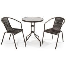 Set Da Giardino Composto Da 1 Tavolo E 2 Sedie In Metallo E Polyrattan