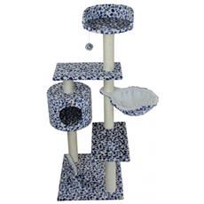 Luckypet Graffiatoio Gioco Per Gatto Con Cuccia Blu Bianco Sisal Palestra Gatti