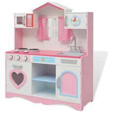 Cucina Giocattolo in Legno 82x30x100 cm Rosa e Bianca