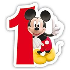 83149 - Candelina Numerale Mickey Mouse Club House Numero 1, Rosso / bianco