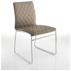 4 Sedie In Ecopelle Con Gambe In Metallo Cromato Mod. mesh Tortora Cod. 2376