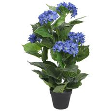Ortensia Artificiale Con Vaso 60 Cm Blu