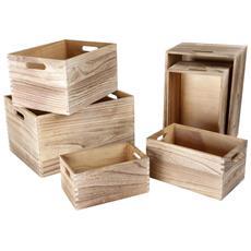 Set Da 6 Box Portaoggetti In Legno Legler