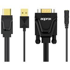 APPC22, HDMI / USB, VGA / 3.5mm, Maschio / femmina, Nero, Plastica, 1920 x 1080 Pixels