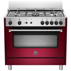 Cucina a Gas AMN905GEVSVIE Serie Americana 5 Fuochi a Gas Forno a Gas Ventilato Dimensioni 90 x 60 cm Colore Vino