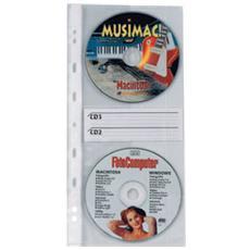 10 buste forate atla cd2 12,5x30cm per 2cd / dvd