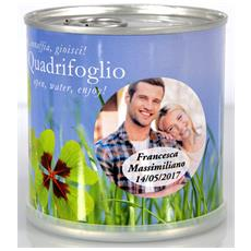 Bomboniere Matrimonio Naturali Personalizzate Quadrifoglio Fiori In Lattina Macflowers