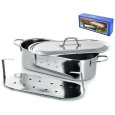 Pescera Inox Con Coperchio Grande Cm60 Pentole Cucina