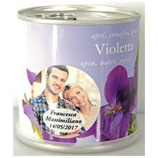 Bomboniere Matrimonio Naturali Personalizzate Viola Fiori In Lattina Macflowers