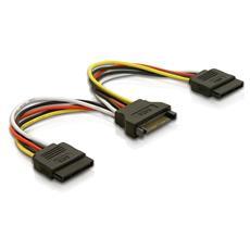 Cable Power SATA 15pin > 2x SATA HDD - straight, 15pin SATA, 2x SATA, 0,15m