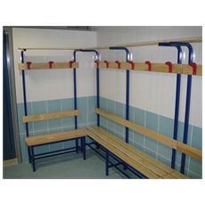 Mf9012 panca spogliatoio con seduta 2 m legno acciaio schienale panchina