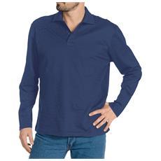 Polo Manica Lunga In Cotone Piquet Colore Blu Navy Taglia 2xl