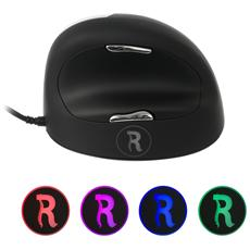 HE Mouse destro grande, USB, Pressed buttons, Rotella, Universale, Nero, Argento, Mano destra