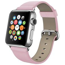 Cinturino WristBand in vera pelle per Apple Watch da 42mm - Rosa
