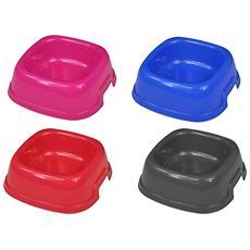 Ciotola Vaschetta Plastica Quadrata 22x22x7,5 Cm 0,73 Lt Per Cane Gatto Animali Domestici Mangiatoia Cibo Acqua Colore Casuale
