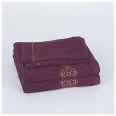 Lot De 2 serviettes + 2 gants De Toilette Oriental – prune