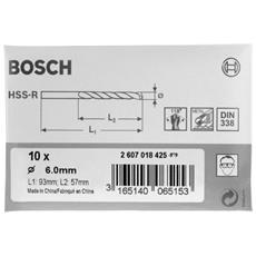 2607018401 - Set Di 10 Punte Laminate Per Metallo In Hss-r Din 338, Ø 1,5 Mm
