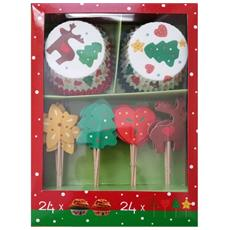 Set 24 Pirottini Decoro Cupcake Con Pick Natalizi