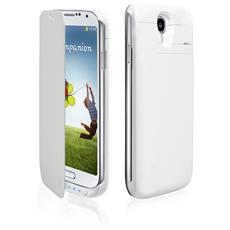 TEBATCASES4W SMARTPHONE Case con batteria integrata 3.200 mAh per Samsung Galaxy S4 con flip, colore bianco