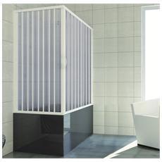 Cabina 70x150 parete vasca a soffietto apertura centrale in pvc h150