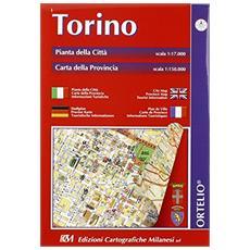 Torino. Pianta della città 1:17.000. Carta della provincia 1:150.000