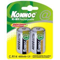 IBT-K4000-B2 - Blister 2 Batterie Ricaricabili Mezza Torcia C 4000 mAh