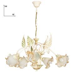 I-PRIMAVERA / 5 - Lampadario floreale in ferro battuto con 5 luci avorio