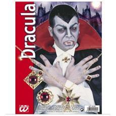 Set Travestimento Dracula Gioielli per Vampiro in Acciaio e Acrilico