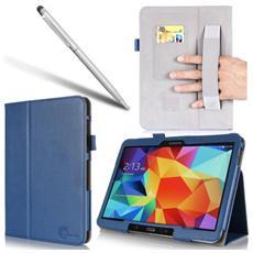 I-blason Cover Samsung Galaxy Tab 4 10.1 - Custodia In Pelle Stile Libro (maniglia Elastica, Multi-angolo, Portatessere) Con Garanzia 3 Anni (blue)