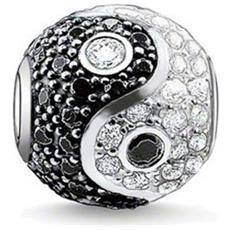 Beads Yin Yang Cristallo Bianco E Nero - Mis 4428 V