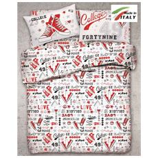 Parure In Cotone Sacco Copripiumino Letto 1 Piazza E Mezza Fantasia All-stars Prodotto In Italia