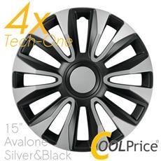 Copricerchi Auto Universali 15 Pollici Tech-one Avalone Silver Black 31622