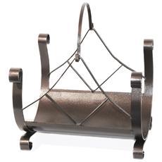 Portalegna Con Manico In Ferro Battuto Verniciato A Polvere 40x32xh45cm 604